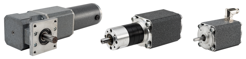 Upload Application Specs - Featured motors include (left to right): DC right angle planetary gear motor, Planetary i-series AC gearmotor, Brushless motor.