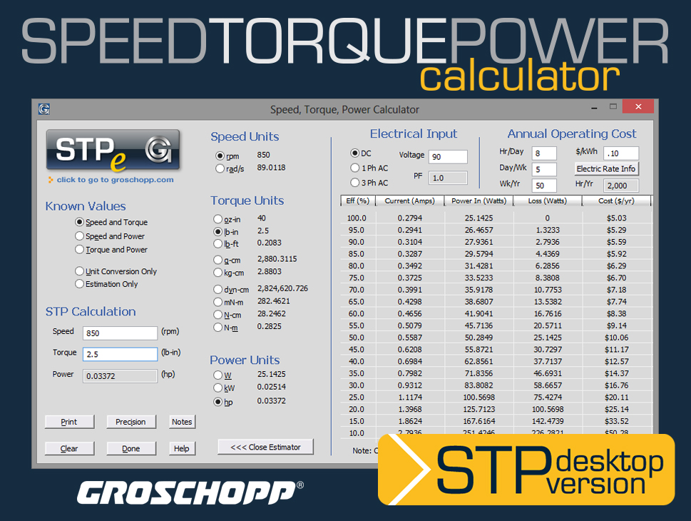 Groschopp recently updated the downloadable version of their speed-torque-power calculator.