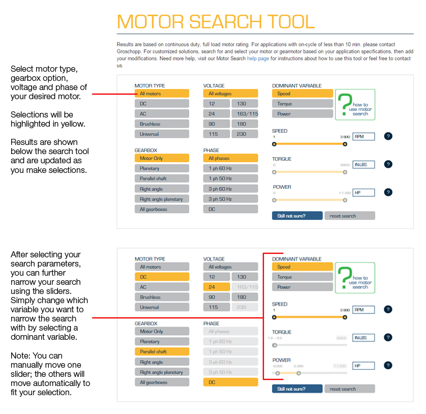 Motor Search Tool How To Groschopp