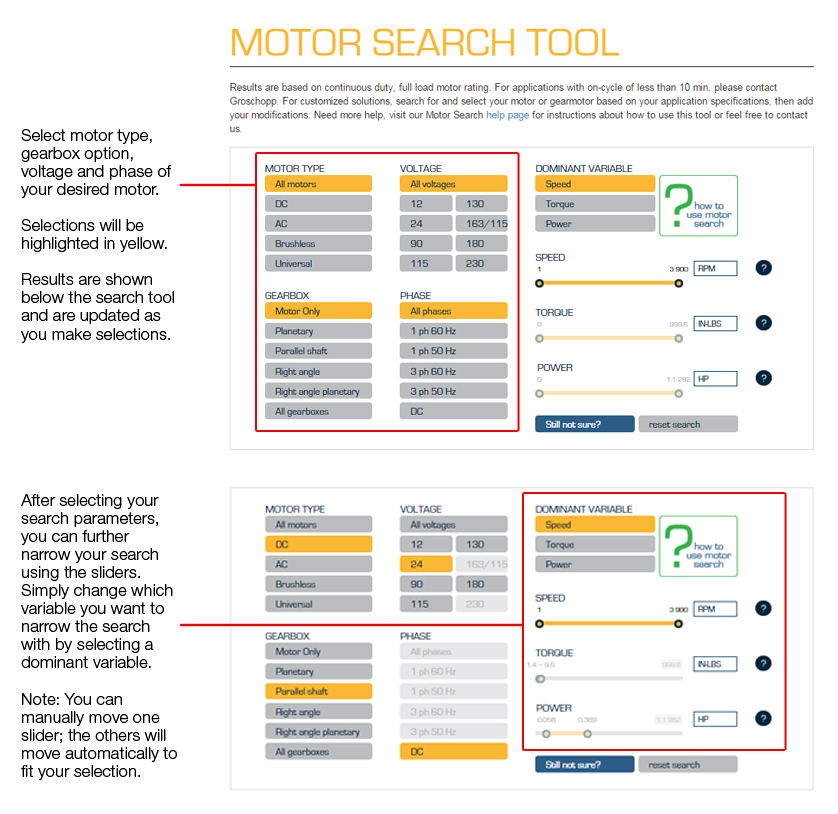 Motor Search Tool directions