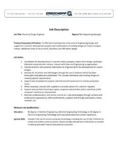 Superb Electrical Design Engineer Job Description Groschopp