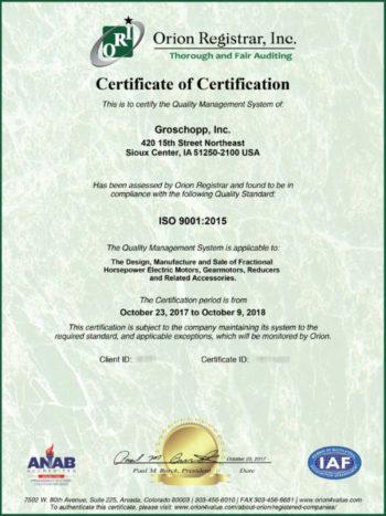 Groschopp's ISO 9001:2015 Certification
