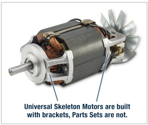 Universal skeleton motors have brackets.