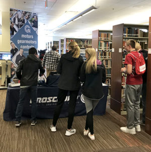 High school students visiting Groschopp's booth